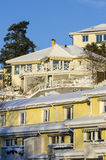 Row houses and villas wintertime Royalty Free Stock Photo