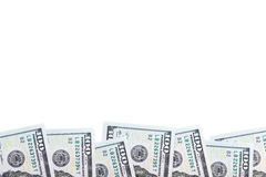 Row hundred-dollar bills. Isolated on white background Royalty Free Stock Images