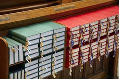 Church interior with Hymnals. Row of hymnals in a Danish church Royalty Free Stock Image