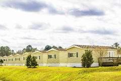 Row of Identical Mobile Homes Stock Photo