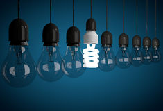 Row of incandescent bulbs lit by one energy saving bulb Stock Image