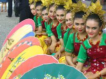 Row of Indonesian girls Stock Photo