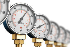 Row of industrial high pressure gas gauge meters. Creative abstract fuel industry manufacturing business concept: 3D render illustration of red metal steel Royalty Free Stock Image
