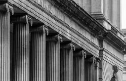 Row Of Ionic Columns In Black And White Tone Royalty Free Stock Photos