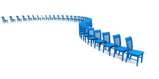 Row of Isolated Blue Painted Chairs. Curving line of wooden dining chairs painted blue with slat backs stock photos