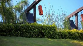 Row of Japanese lantern on sky, palm and grass stock video footage