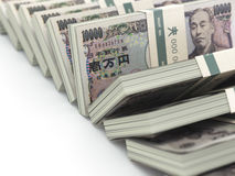Row of japanese yen pack money  on white background. 3d Stock Photography