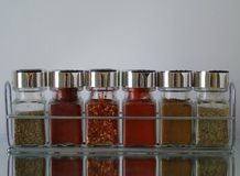 Jars of Herbs and Spices in Spice Rack. Row of jars of herbs and spices sitting in spice rack basil, paprika, chilli flakes, chilli powder, mixed herbs and cumin Stock Images