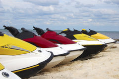 Row of jet skis Royalty Free Stock Photo