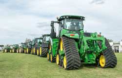 A row of  John Deere Tractors at show Stock Images
