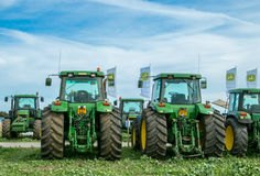 A row of  John Deere Tractors at show Royalty Free Stock Photography
