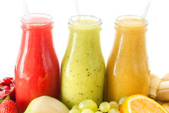 Row Juices Smoothie Three Bottles Red Green Orange Stock Photo