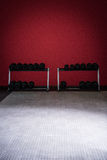 Row of kettlebells in emtpy room Stock Photography