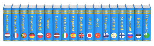 Row of Languages Books, 3D rendering. Isolated on white background Royalty Free Stock Images