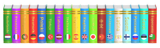 Row of Languages Books, 3D rendering. On white background Royalty Free Stock Photography