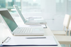 Row of laptops Stock Photography