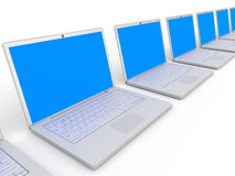 Row of laptops. Royalty Free Stock Photography