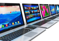Row of laptops Royalty Free Stock Images