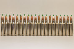 Row of Large Caliber Rifle Bullets Royalty Free Stock Images