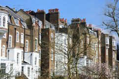Row of large English Townhouses Royalty Free Stock Images