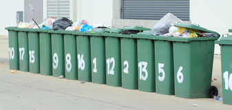 Row of large green bins Stock Photo