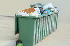 Row of large green bins Stock Images