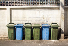 Row of large green bins Royalty Free Stock Image