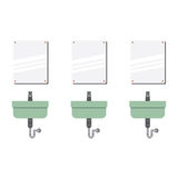 Row Of Lavatories With Mirrors Stock Photos