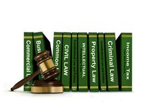 Row of Law Books and Wooden Gavel Stock Photos