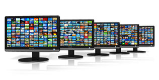 Row of LCD displays with picture galleries Royalty Free Stock Photos