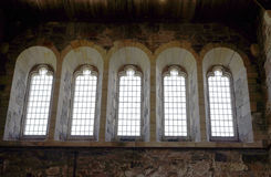 Row of leaded glass windows Royalty Free Stock Image