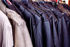 Row of Leather Coats Stock Image