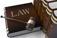 Row of leather law books on. 3d Judges gavel and law books Royalty Free Stock Photo
