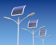 Row of LED street lamp with solar panel Royalty Free Stock Images
