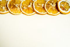 A row of lemon slice with seed inside stock photography