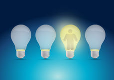 Row of a light bulb and avatar illustration Stock Photo