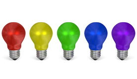 Row of light bulbs of different colors. Front view Royalty Free Stock Image