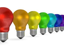 Row of light bulbs of different colors Stock Photo