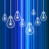 Row of light bulbs with glowing Royalty Free Stock Image
