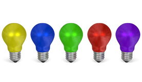 Row of light bulbs of vibrant contrasting colors. Front view Stock Images