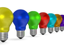 Row of light bulbs of vibrant contrasting colors Stock Photos