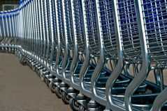 Row of light carts for a supermarket Stock Images