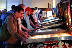 Row of lights at the pinball arcade stock image