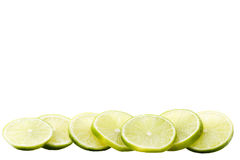 Row of lime blades. A row lime blades on white background stock photography