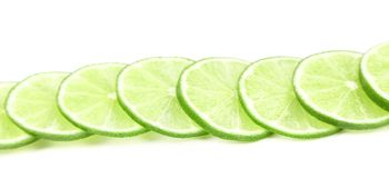Row lime slices. Royalty Free Stock Photography