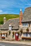 Row of limestone cottages in an English village Royalty Free Stock Photo