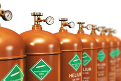 Row of liquefied helium industrial gas containers Stock Photos