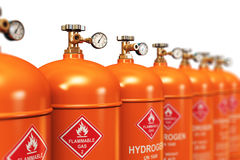 Row of liquefied hydrogen industrial gas containers vector illustration