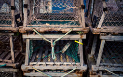 Row of lobster traps Royalty Free Stock Images