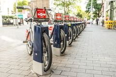 Bicycle Parking. Row of London bicycle sharing parking at station Stock Image